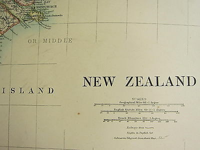 1892 Large Map ~ New Zealand ~ North & South Island Christchurch Wellington Alps