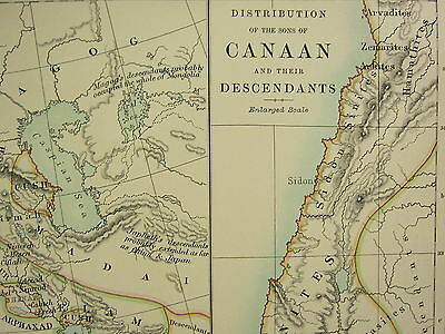 1892 Large Historical Map ~ Distribution Of Sons Of Canaan Nations After Deluge