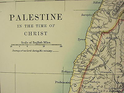 1892 Large Historical Map ~ Palestine In Time Of Christ Judea Samaria Phoenice