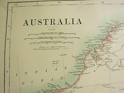 1892 Large Map ~ Australia ~ New South Wales Victoria Queensland Inset Tasmania