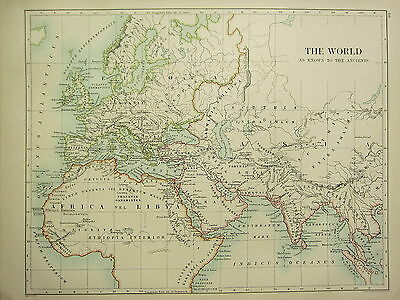 1892 Large Historical Map The World Known By The Ancients Libya Britannia Europa