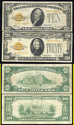 1928 $10.00 And $20.00 Gold Certificates- Popular- No Reserve
