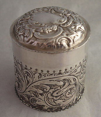 Ornate Victorian Solid Silver Tea Caddy - London 1890