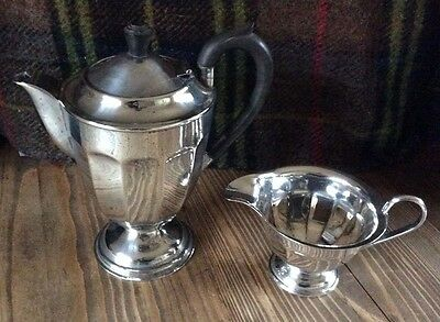 Vintage Art Deco Silver Plate EPNS A1 Coffee Pot and Milk Jug - Sheffield Made.