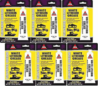 6 AGS WHITE LITHIUM GREASE Multi Use Lubricant Lube AUTO FARM MARINE HOME 1.25oz