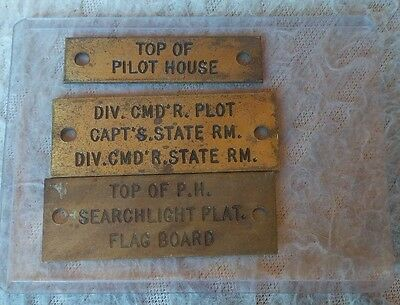 Vintage Set of 3 Ship's Brass Sign Tag Ship Boat Plaque Plate Pilot Searchlight