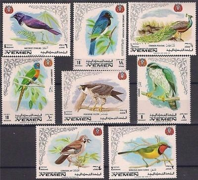 Yemen 1969 Birds Falcon Parrot Peacock Nature Wildlife 8v compl. set MNH
