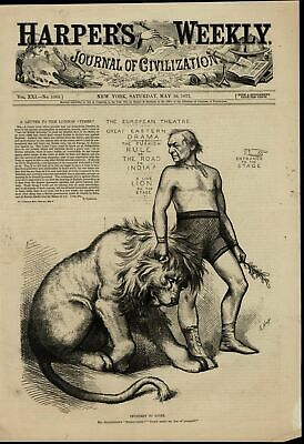 Man Holding Lion by Mane British Imperialism wonderful 1877 unusual old print