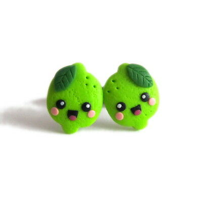 Lime Green Fruit Funny Cute Gifts For Girls Kids Stud Kawaii Earrings Jewelry