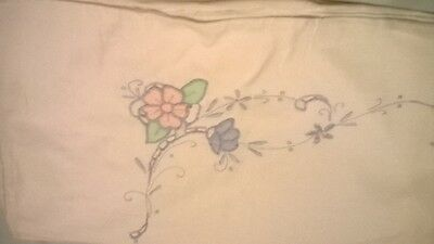 Vintage Embroidered Pillow Case, White