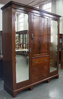 Flamed Mahogany Edwardian Antique Fitted Compactum Triple Wardrobe Armoire