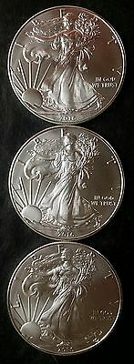 Three 2016 $1 American Silver Eagle Dollars