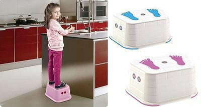 Non Slip Plastic Bath Stool Child Safe Step - Baby Toddler Stool Blue or Pink