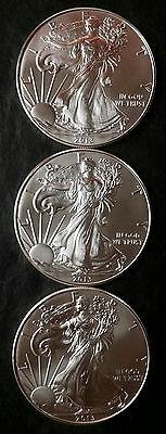 Three 2013 $1 American Silver Eagle Dollars