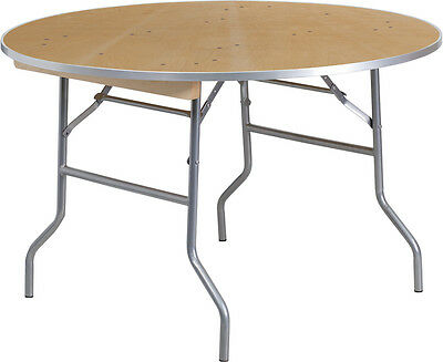 Lot Of 10 - 4 Ft Round Heavy Duty Birchwood Folding Banquet Table