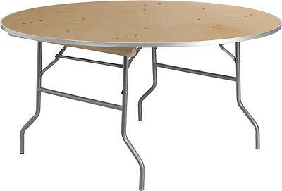 Lot Of 10 - 5 Ft Round Heavy Duty Birchwood Folding Banquet Table