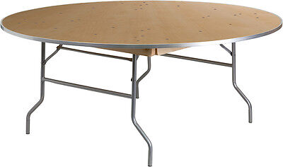 Lot Of 10 - 6 Ft Round Heavy Duty Birchwood Folding Banquet Table