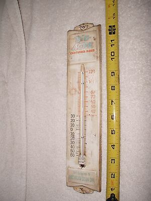Vintage Original BIG ACRE CERTIFIED SEED Tin /Metal Thermometer