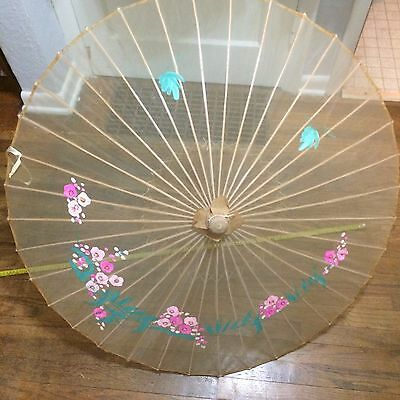 VTG Asian Parasol bamboo wood silky fabric hand painted floral umbrella japanese