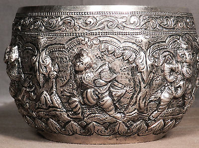 Antique Indian Burmese Myanmar Thai Solid Silver Chased Repousse Bowl Relief OLD