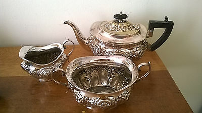 3 Piece Heavy Ornate Victorian Silver Plate Tea Service