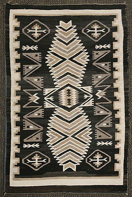 "PRICE REDUCED - c. 1930s Navajo Two Grey Hills Rug, 64"" x 43"""