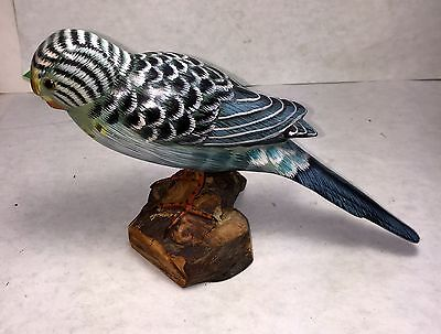Wooden Bird Blue Parrot  Hand Carved And Hand Painted-8""