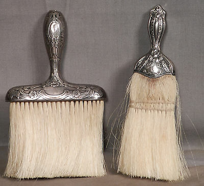 2 Antique Sterling Silver Vanity Clothes Brushes Gorham Art Nouveau Whisk Broom