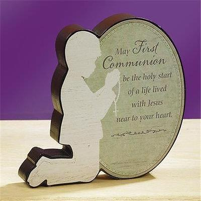 First Communion Kneeling BOY Stand Up Plaque Gift Commemoration Prayer