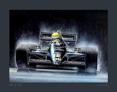 POSTER ARTWORK PRINT / DESSINS F1 : LOTUS 1985 A. SENNA 40 x 50 cm by CLOVIS