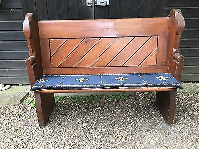 Victorian small gothic church pew, wooden