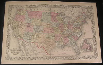 nice large United States w/ trails & RR lines 1882 old vintage hand color map