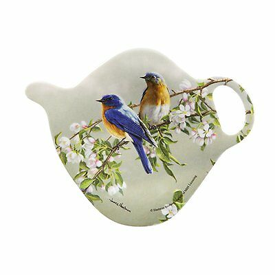 Blue Birds Tea Bag Holder Ashdene New Melamine Teapot Shape Flowers Branch