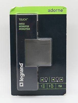 Legrand Adorne Touch Switch 15A Single Pole 3-Way - Magnesium - ASTH1532M2