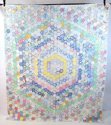 """Antique Shabby Distressed LOG CABIN Multi Color Patchwork Quilt Chic Blanket 78"""""""