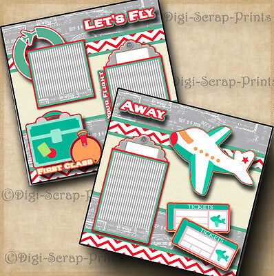 LETS FLY AWAY travel vacation 2 premade scrapbook pages paper piecing DIGISCRAP