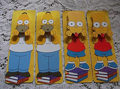 The Simpsons-2007-Metal-Bookmarks-Lot Of 4-2 Bart & 2 Homer