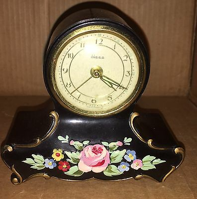Vintage Antique HECO Clock With hand Painted Flowers Sold As Is