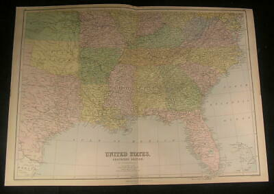 Southern region United States w/ most of Texas 1879 old vintage nice color map