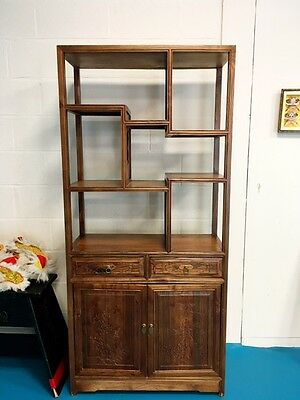 Antique Chinese Solid Elm Display Cabinet