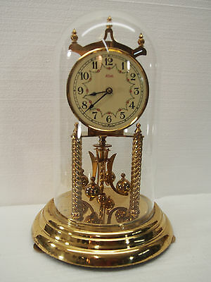 Vintage Kundo Anniversary 400 Day Torsion clock with glass dome Working
