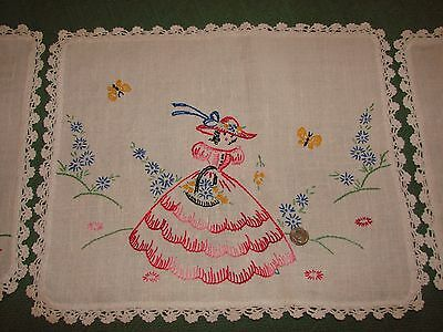 Vintage Linen Embroidered Chair Back and Arm Covers - Crinoline Lady, Crochet
