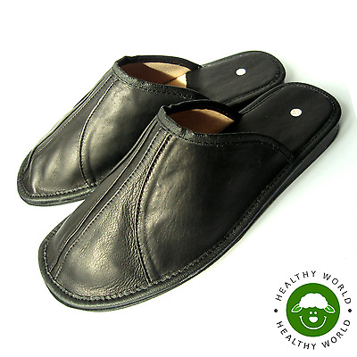 Luxury Men's Shoes, REAL LEATHER - CALFSKIN Slippers Black