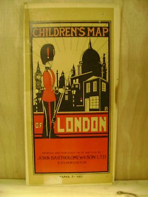 1950s Children's Map of London, colorful illustrations