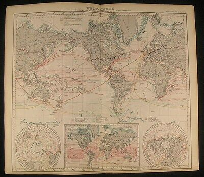 World Air & Ocean Currents Commerce Route 1867 antique lithograph hand color map