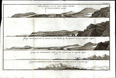 Recognition View Desolation Islands Port Captain Cook 1801 antique engraved map