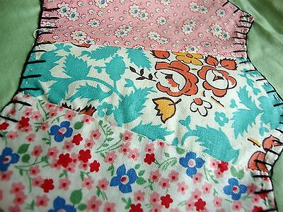 Vintage Dresden Plate Flour Sack Quilt Top 68 x 88 Gorgeous and Bright!
