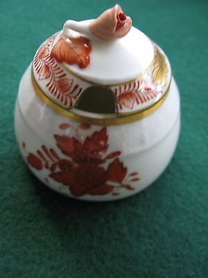 Herend Porcelain Chinese Bouquet Rust Honey Pot with Rose Lid