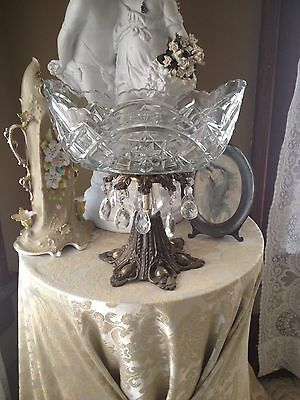 VINTAGE CUT GLASS COMPOTE GLASS PRISMS ORNATE BRASS BASE~Boat Shaped So Pretty!