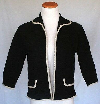 Vintage St Andrews Sweater 12 Black Wool Cardigan Open 50s 60s
